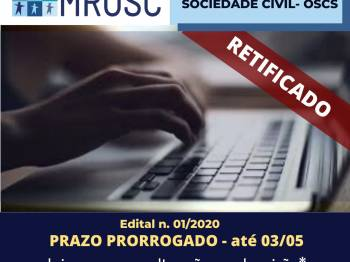 Prorrogado: Edital para o Fundo de Apoio às Organizações da Sociedade Civil/OSCs